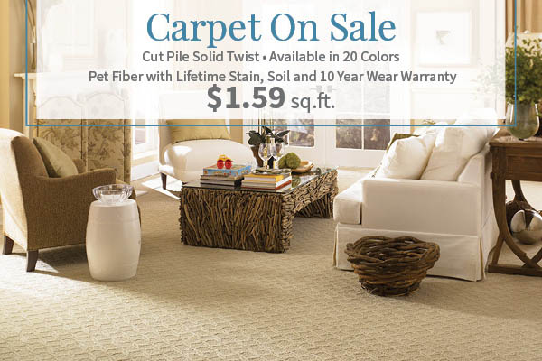 Cut pule solid twist carpet on sale just $1.59 sq.ft. Available in 20 colors - Pet fiber with lifetime stain, soil, & 10 year wear warranty!