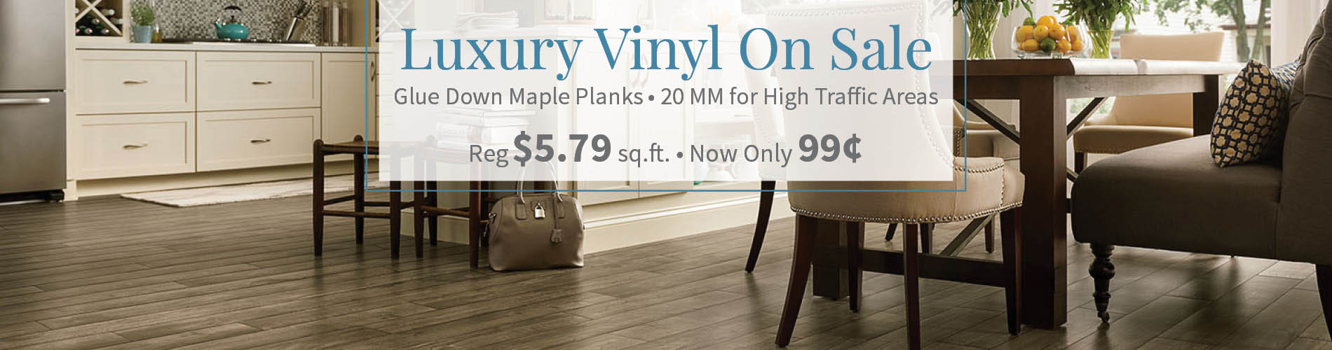 Glue down luxury vinyl maple planks on sale - 20mm for high traffic areas - Regularly $5.79, now only 99¢!
